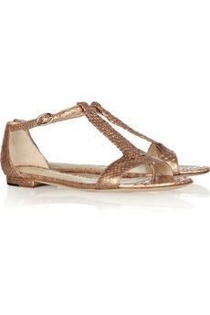 Woven metallic python flat sandals by Alexandre Birman