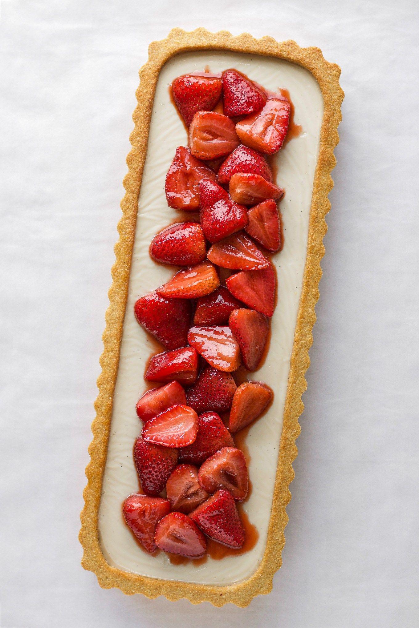 Vanilla Cream Tart With Roasted Balsamic Strawberries