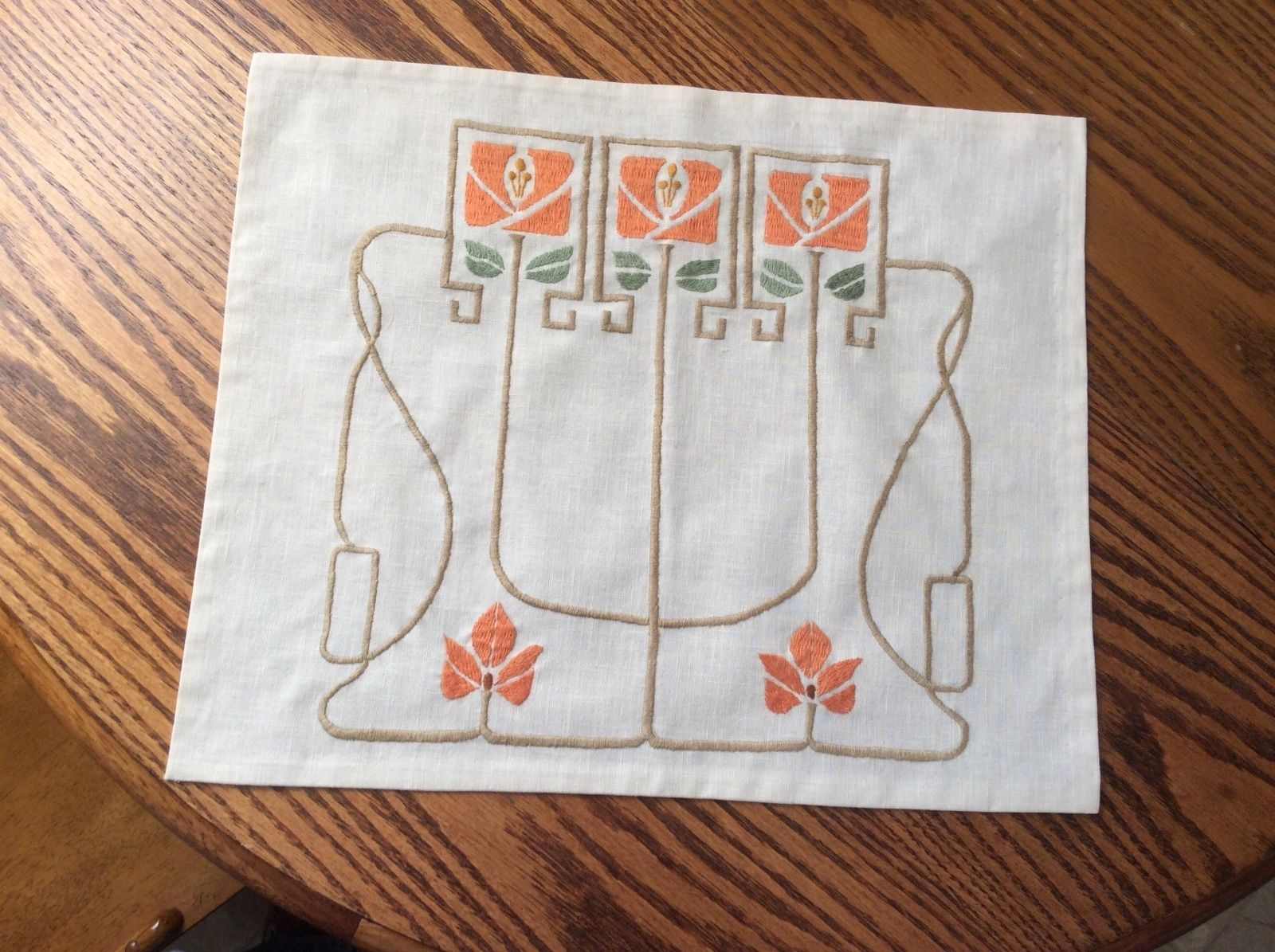 Arts and crafts table linens - Mission Morris Craftsman Art Crafts Style Embroidered Table Linen Ebay