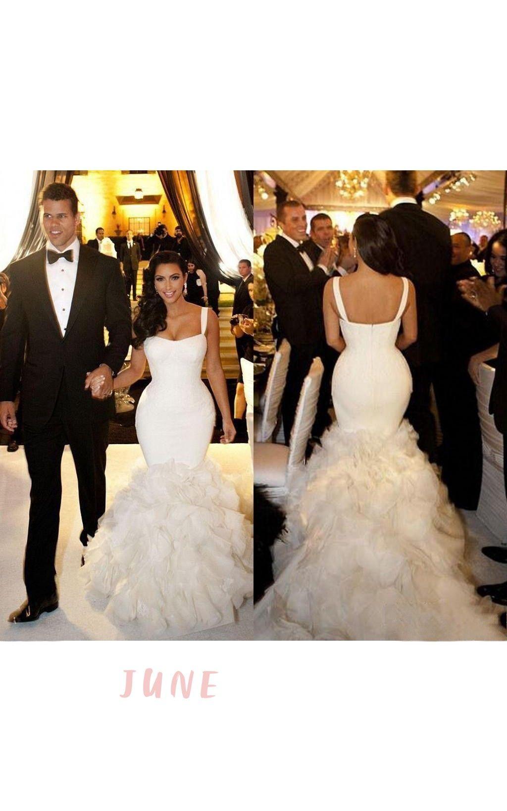 Elegant Spaghetti Straps Mermaid Ruffled Organza Gown Celebrity Wedding Dresses Kim Kardashian Wedding Dress Wedding Dresses [ 1638 x 1024 Pixel ]