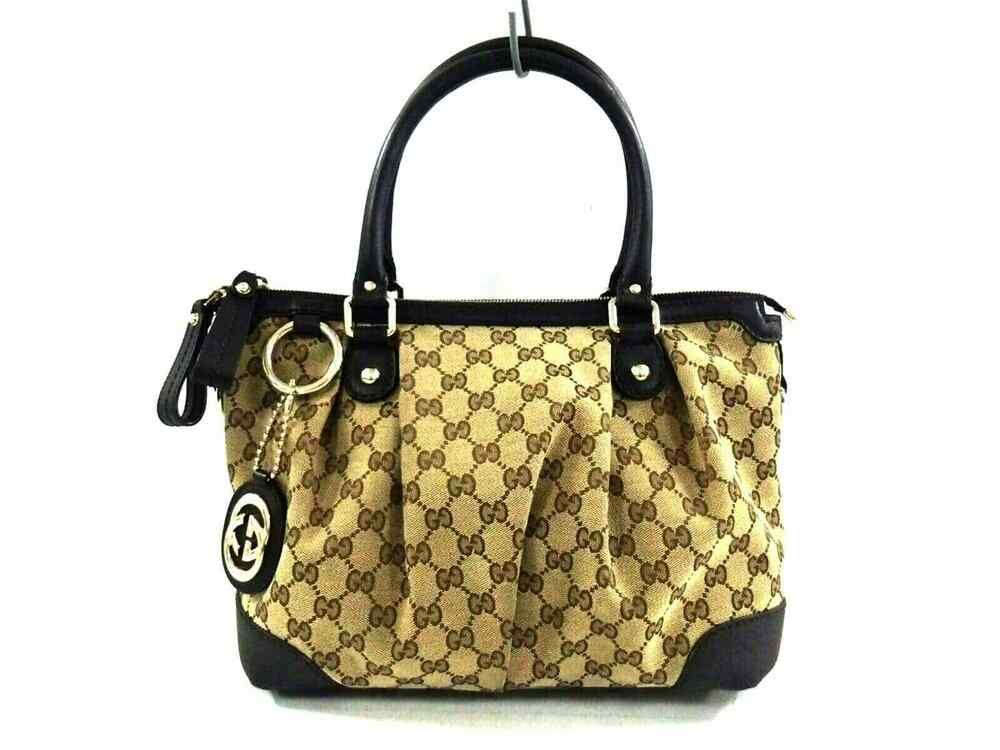 6ded61b478d Auth GUCCI GG 247902 Dark Brown Beige Jacquard Leather Handbag  fashion   clothing  shoes  accessories  womensbagshandbags (ebay link)