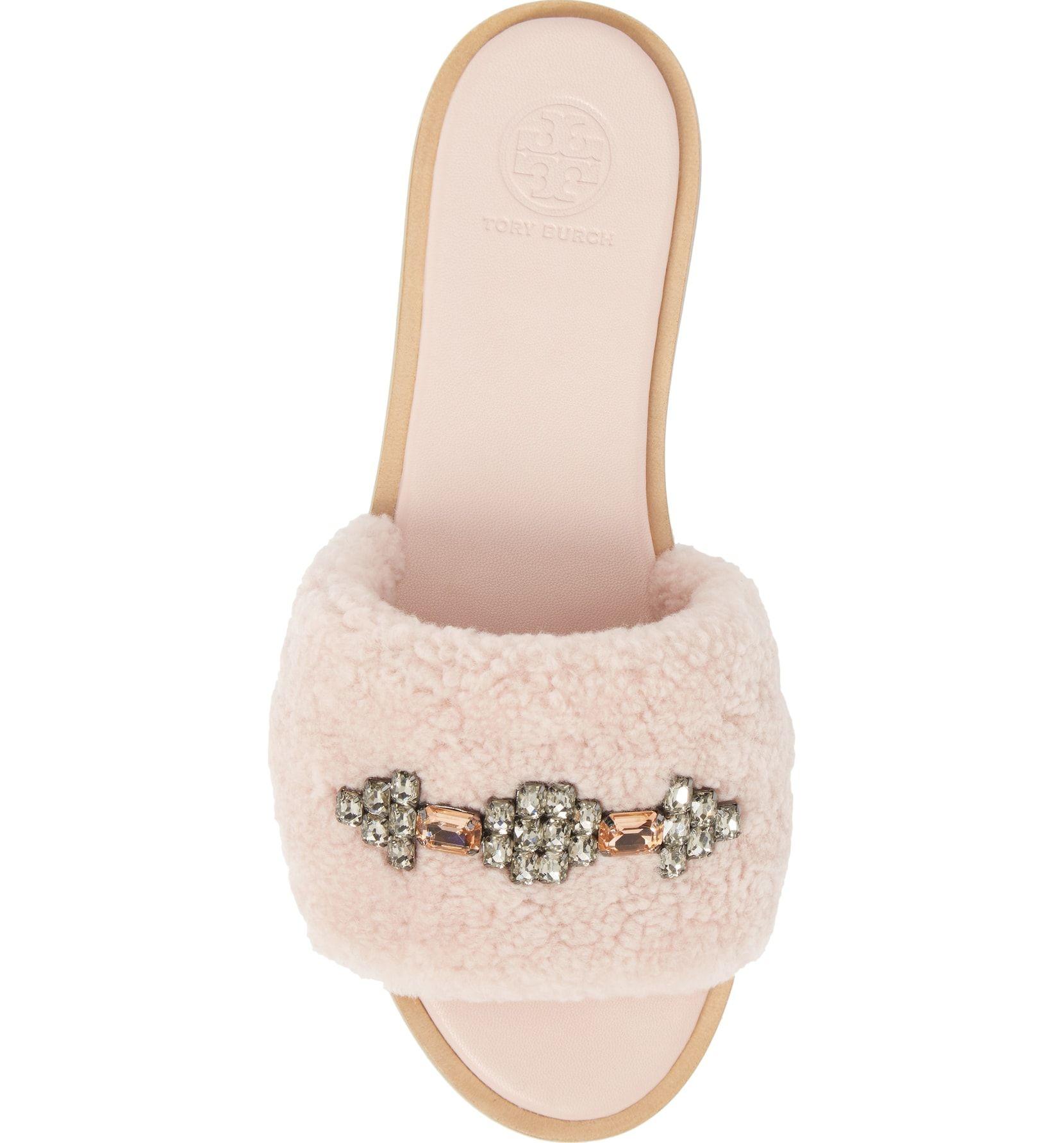 d031a2c5bd1a Embellished Genuine Shearling Slide Sandal