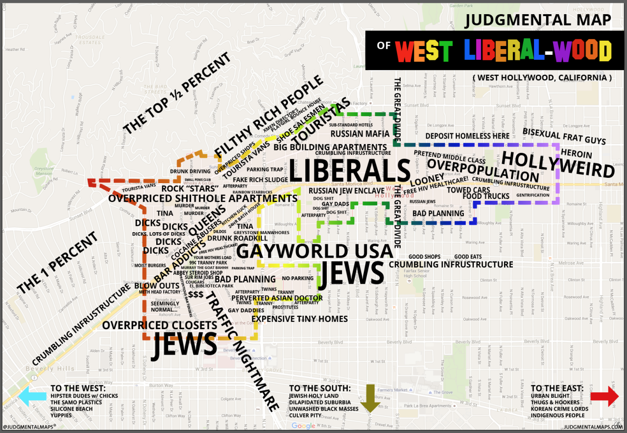 West Hollywood, CA by Anonymous Copr. 2015 Judgmental Maps. All Rights Reserved.