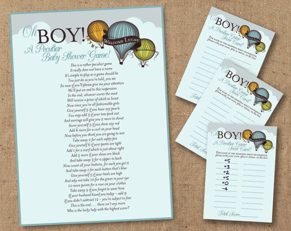 A Peculiar Baby Shower Game. Hot Air Balloon Themed. Printable