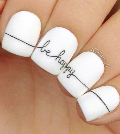 Black and white be happy nails @nailss