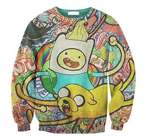 Ninimour Fashion Adventure time Damen Digital Eindruck Sweatshirt Pullover Frühling Herbst Streetwear (petite, APL001): Amazon.de: Bekleidung