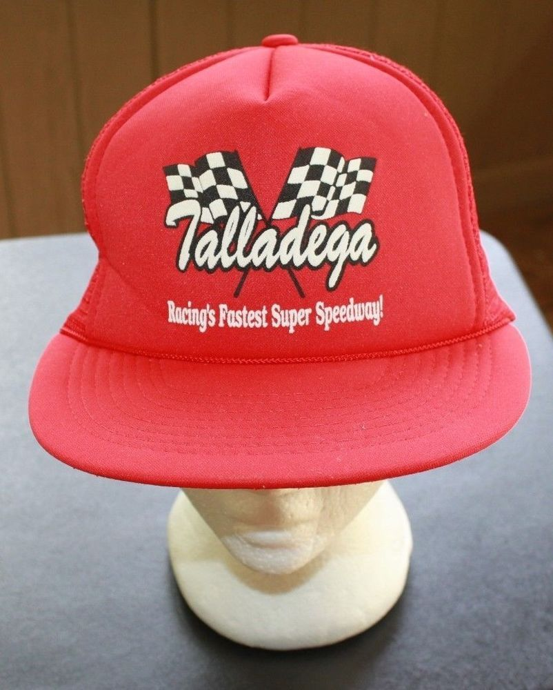b65b9a89a Federal Talladega Speedway Vintage 80s Nascar Red White Snap Back ...