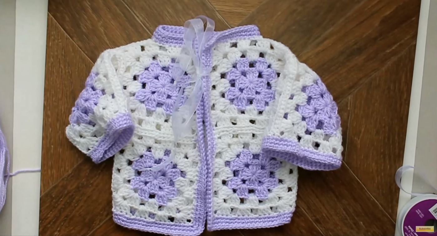 5a5762777 Crochet Granny Square Baby Sweater