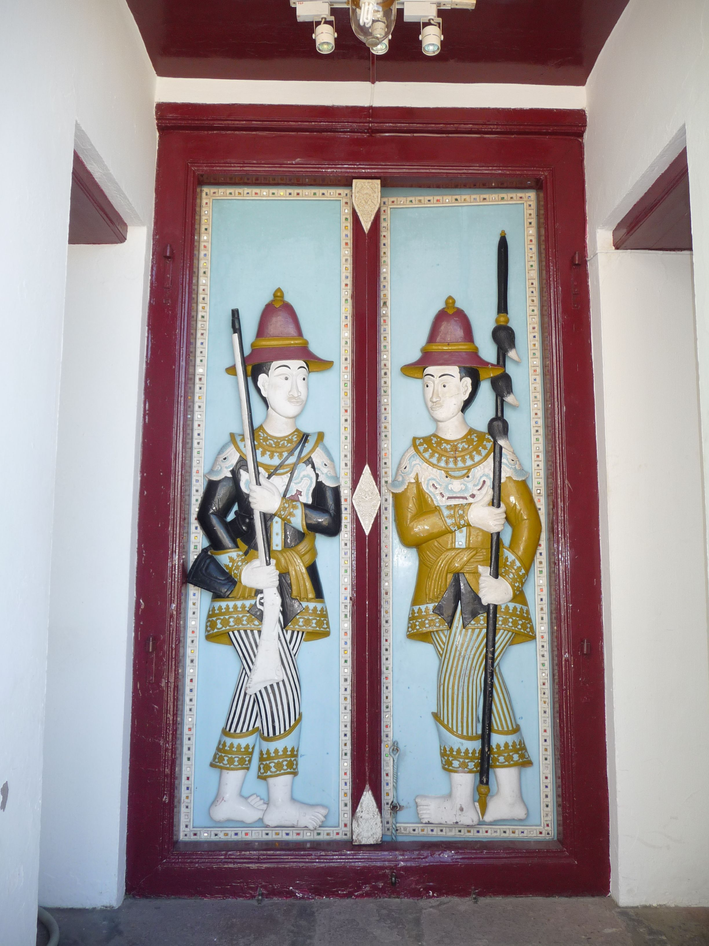 Hand carved door at the Grand Palace in Bangkok Thailand