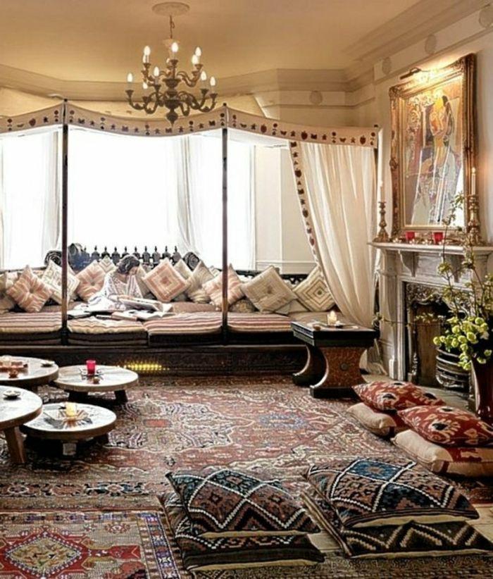 Amnagement salon oriental avec un canap confortable