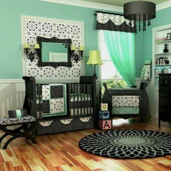 spiegel gardinen und türkis und schwarze farbe für luxus ...