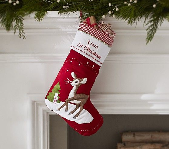 Baby S First Christmas Rudolph Quilted Stocking Pottery