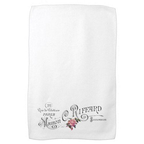 engraved vintage french typography hand towel kitchen towels