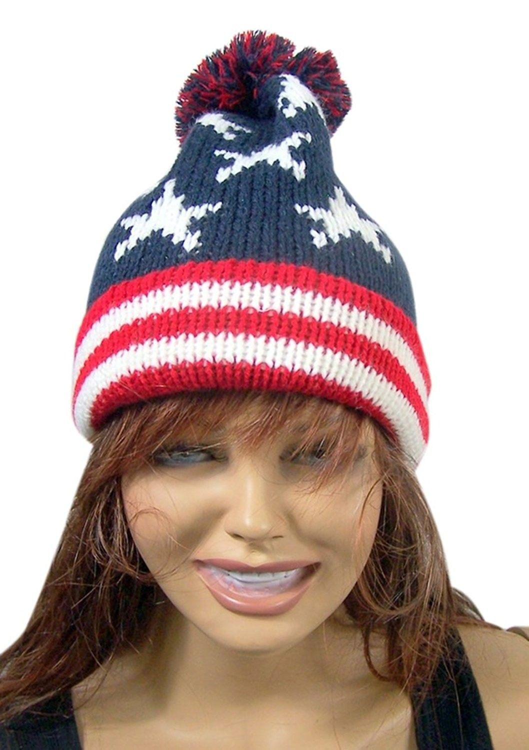 Red White And Blue Patriotic American Flag Knit Cuffed Beanie Hat Cs183gl77wo Beanie Hats Hats Knitting