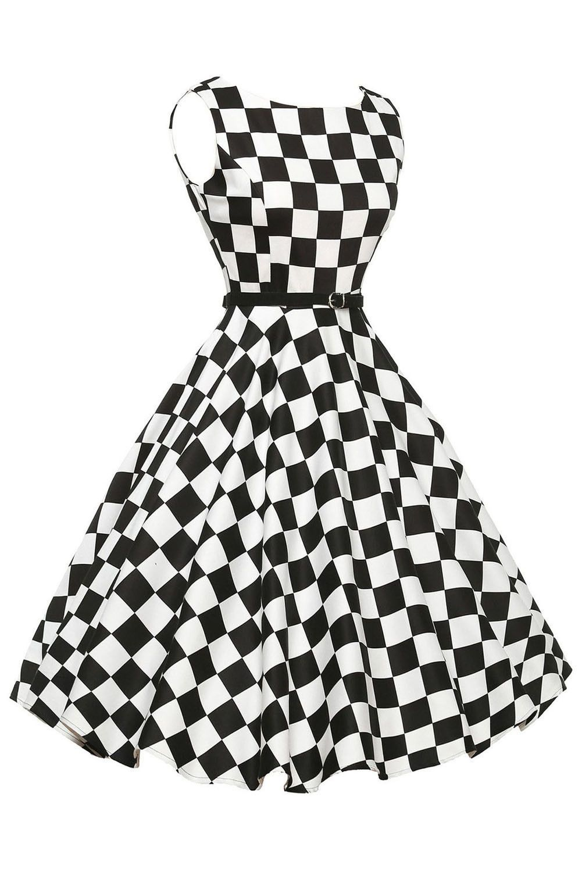 87a9a6c0de87 Stylish 50 s Retro Black White Plain Swing Dress