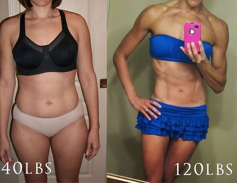 140lbs to 120lbs in 3 1/2 months. She lists her w/o routine and diet on her blog.