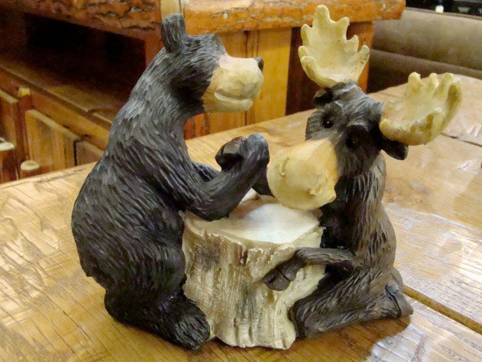 Attractive Black Bear And Moose Arm Wrestling