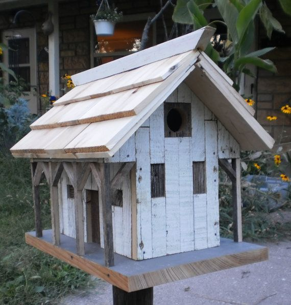 A Truly One Of A Kind Bird House Old Barn Style With Post