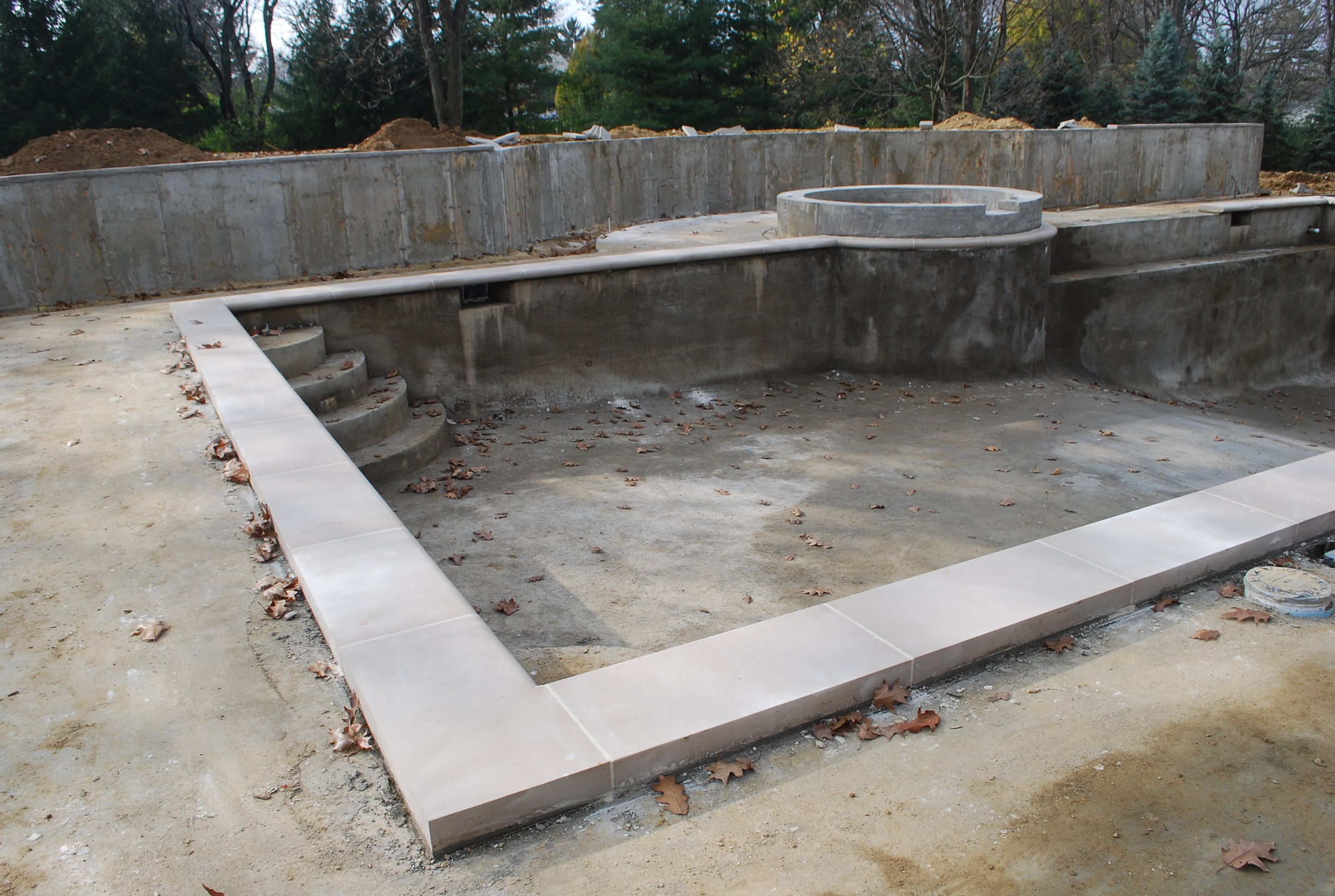 The pool coping natural indiana limestone with a machined for Pool design mistakes