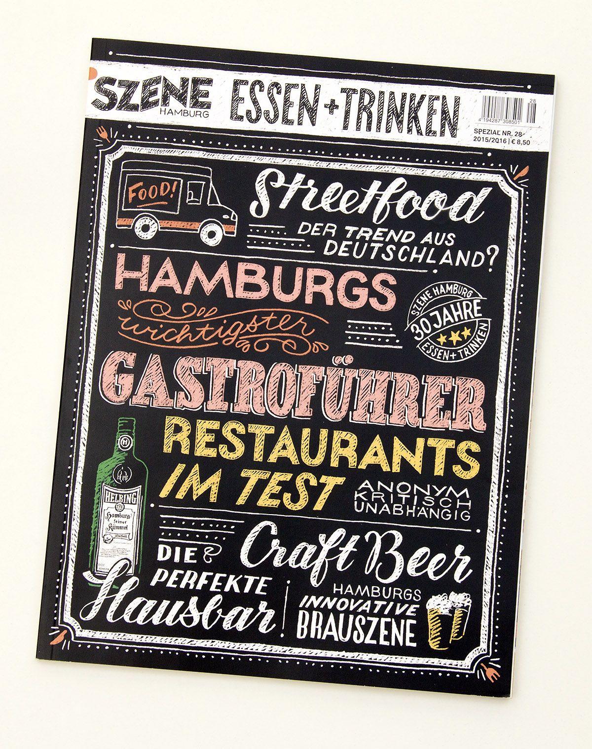 """Handlettering-Cover des Hamburger Restaurantführers """"Szene Hamburg Essen + Trinken"""", Ausgabe 2015"""