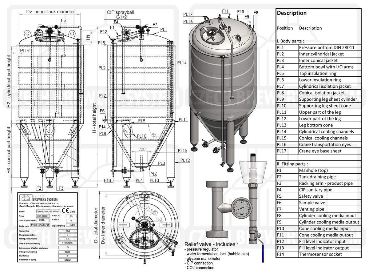 Cct 400c Cylindrically Conical Fermentation Tank 487 Liters Brewing Equipment Fermentation Tank
