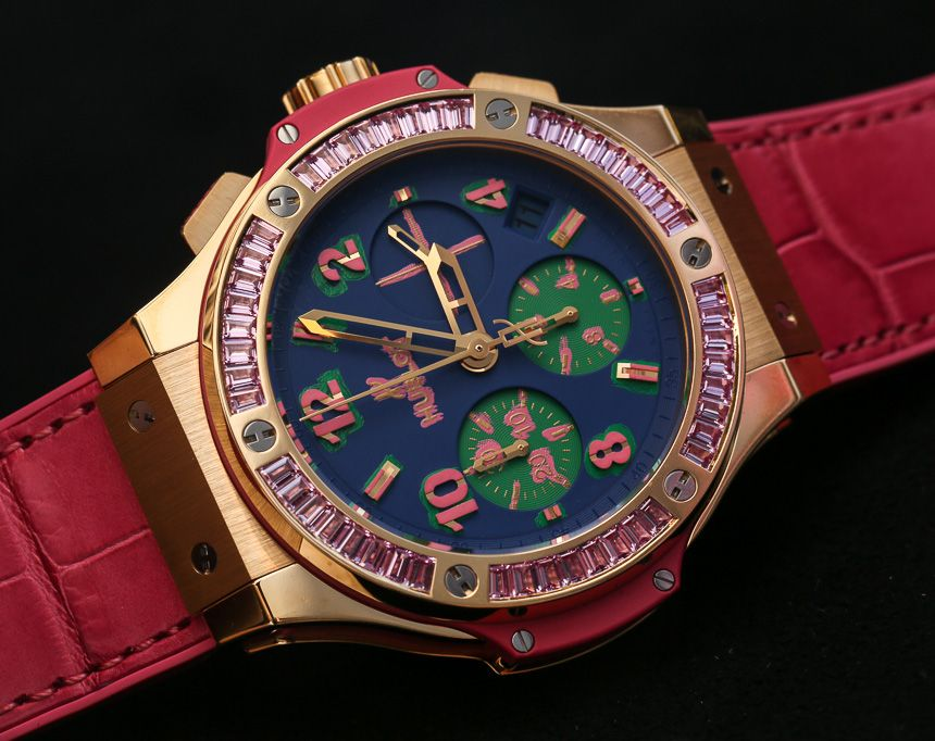 """Hublot Big Bang Pop Art Ladies Watches Hands-On - by Vicky Van Halem - Read more and take a closer look on aBlogtoWatch.com """"Earlier this year at SIHH, Hublot unveiled one of its most vibrant women's collections to date: Hublot Big Bang Pop Art watches. Drawing inspiration from Andy Warhol, a pioneer in the Pop Art Movement, Hublot created a dizzying collection of ultra feminine automatic chronograph timepieces with a daring disregard of conformity and an edgy feeling of fun..."""""""