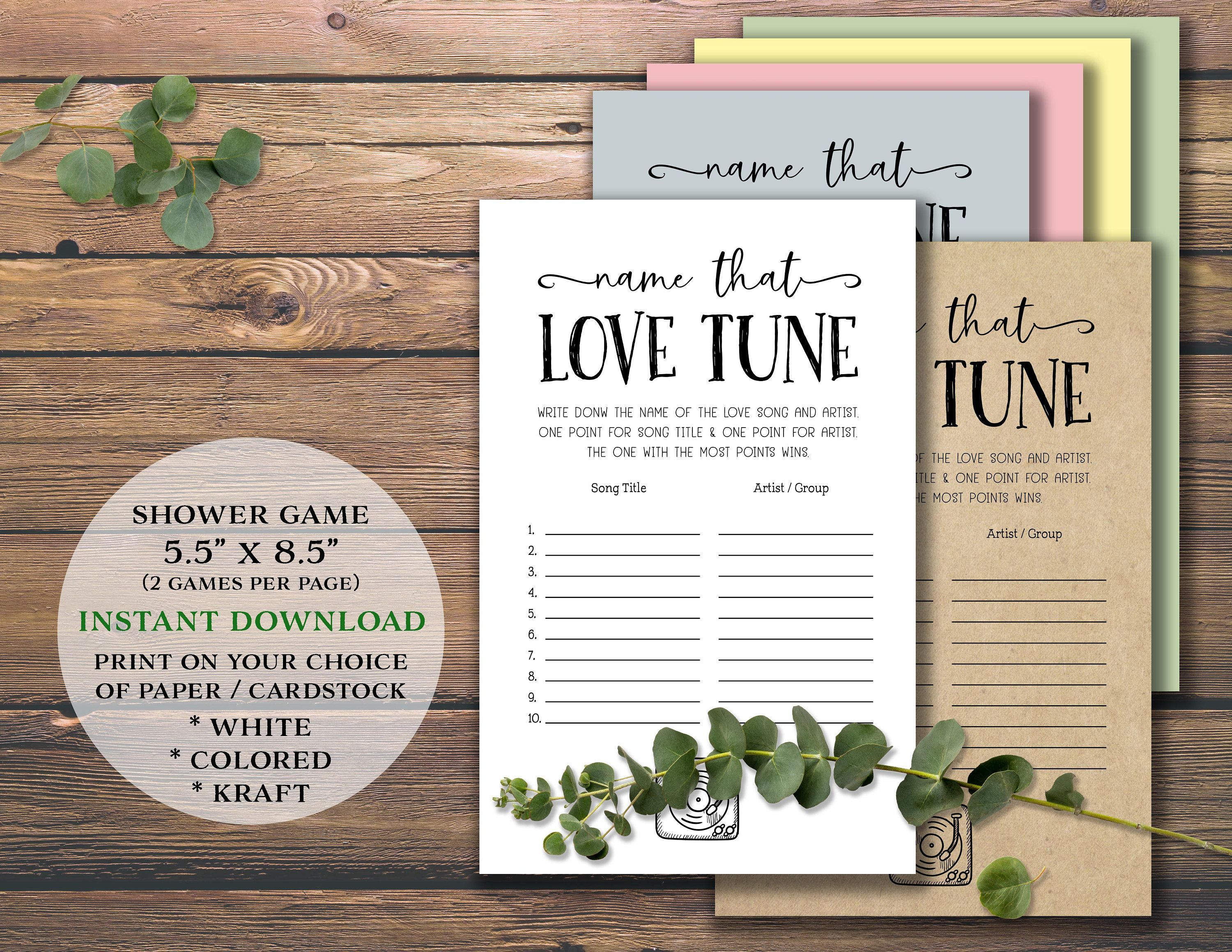 Name That Love Tune Bridal Shower Game Instant Download Printable For Wedding Marriage Bride Party Rustic Simple Guessing Music Game Barbara F Geschenke