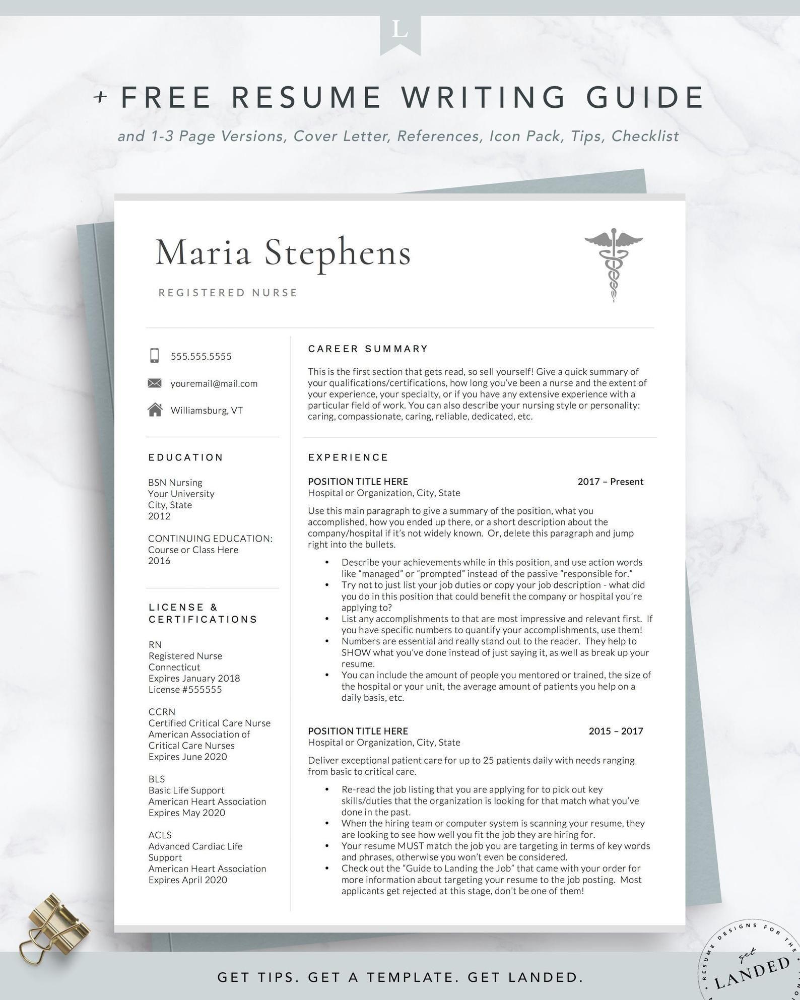 Nurse Resume CV Template Design for Word, Registered RN