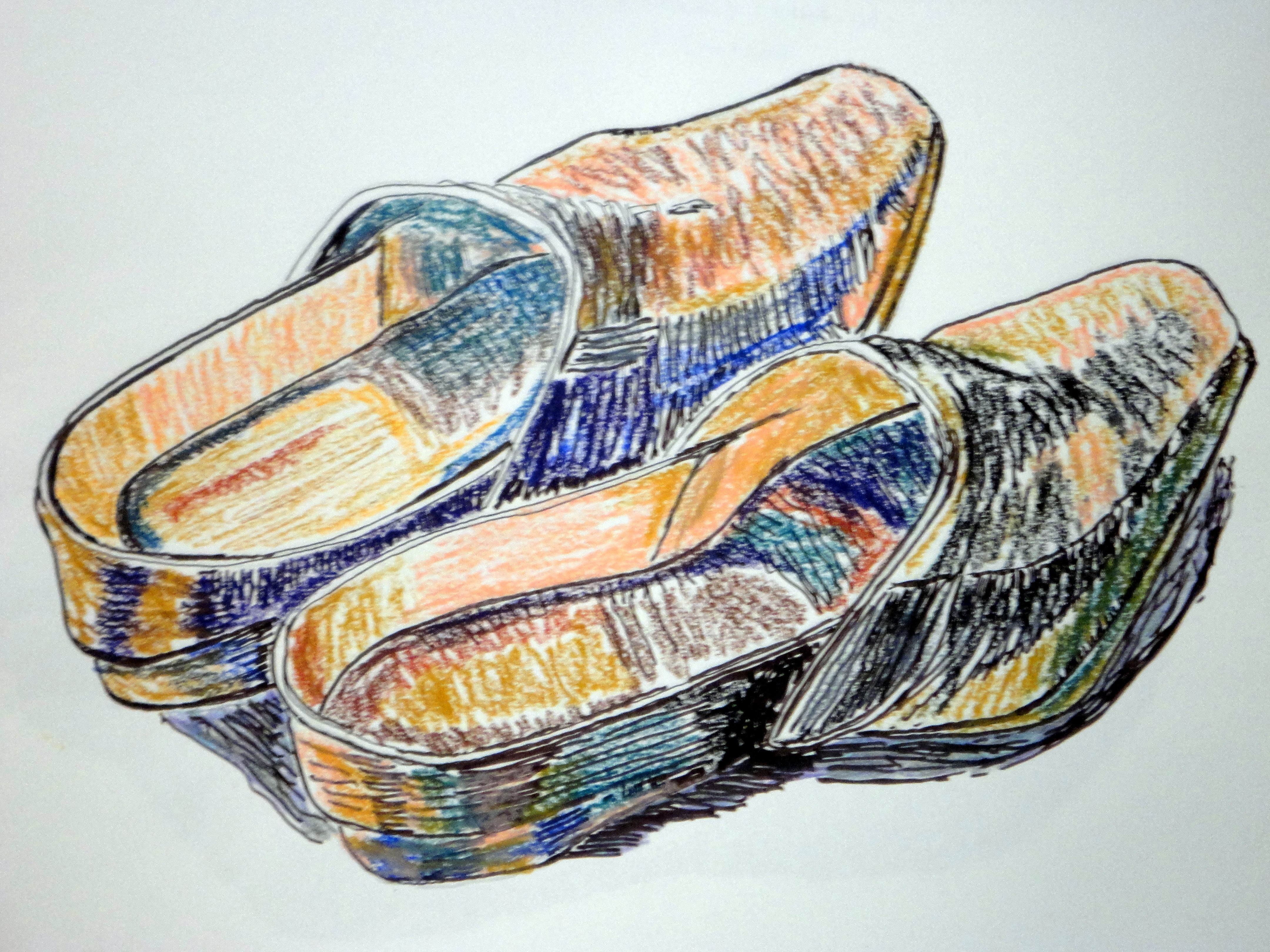 """Socas"" - Pastel d óleo e caneta de ponta de feltro preta (Malay)"