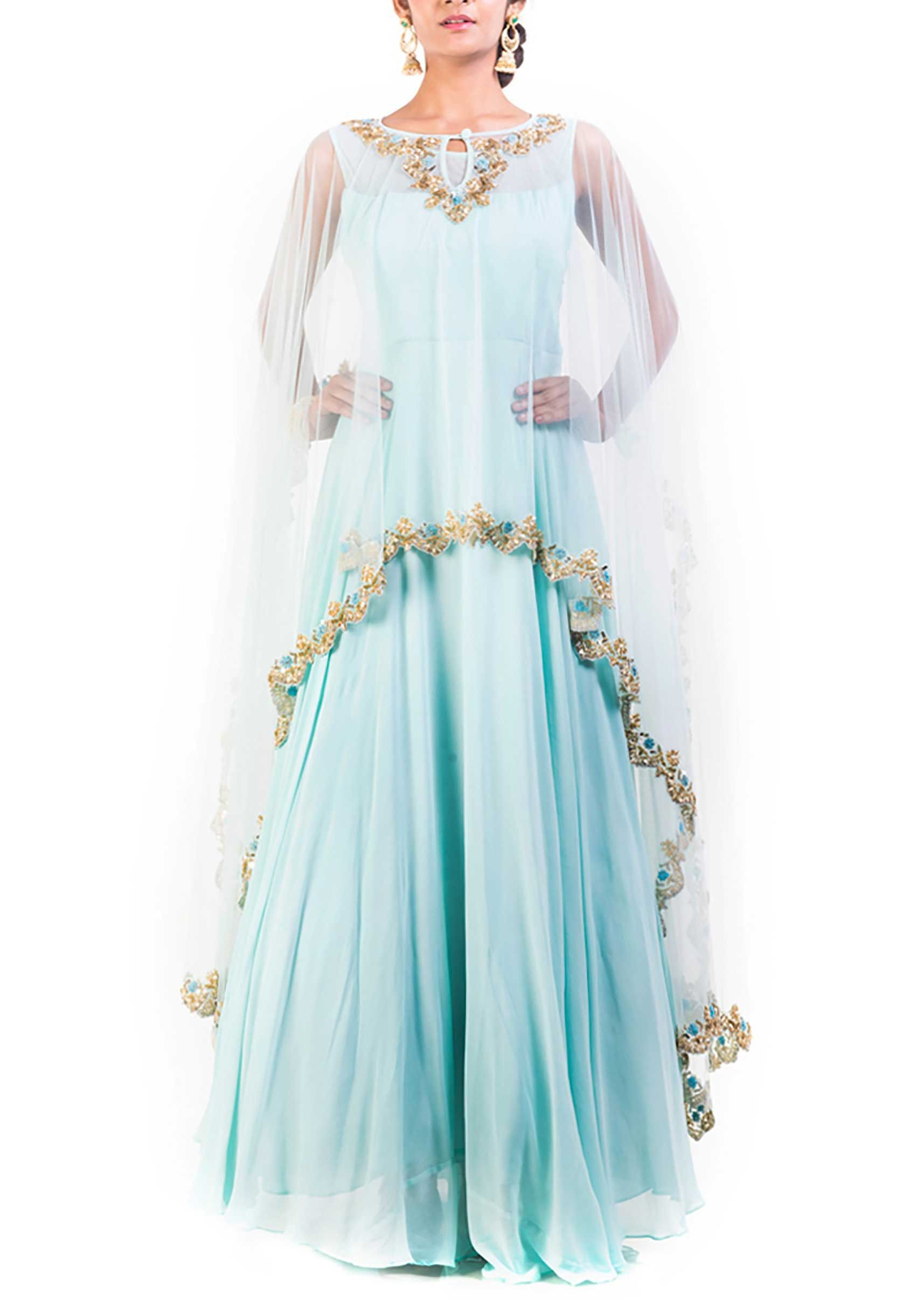 18f468c44f9 Aqua blue gown with long embroidered cape