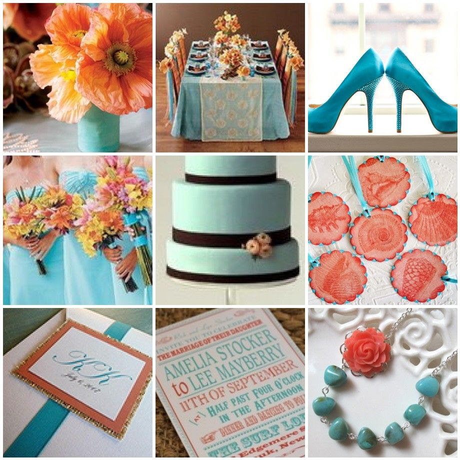 Turquoise And Coral Wedding Decor
