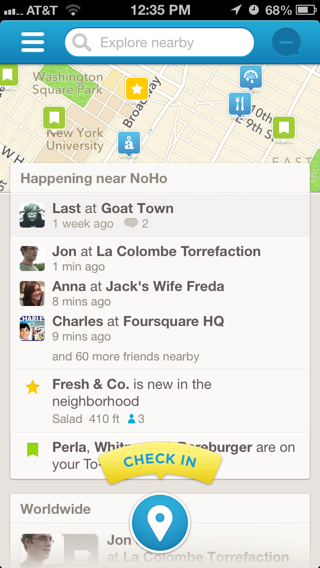 Foursquare Social Feed Four Square Mobile Design Patterns