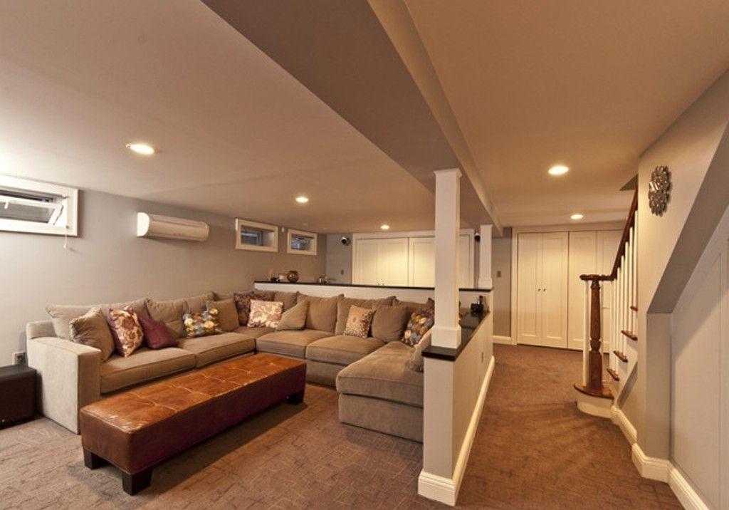 Long Basement Design Ideas Elegant U Shaped Sectional Sofa Set For Delectable Basement Remodel Ideas Set