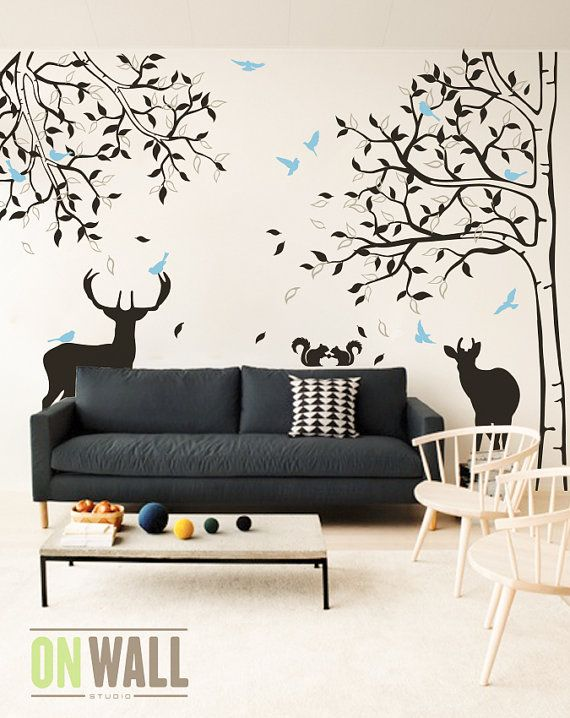 ee5e6cee111a Nursery Bambi Tree Wall Decal - Set of Tree and tree branch with Deers and  Birds - MM010