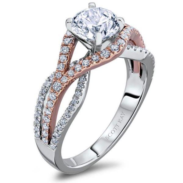 Scott Kay Engagement Rings: Scott Kay Diamond Engagement Ring With Rose And White Gold