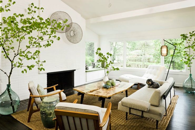 Mid Century Modern Living Room With Fireplace jessica helgerson interior design - living rooms - built-in