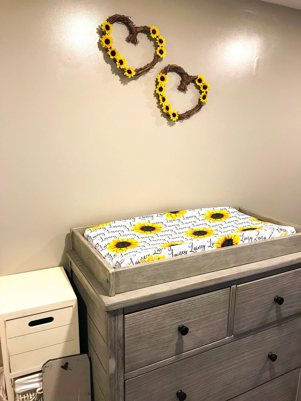 Photo of Newborn Baby Girl Gift Set / Sunflower Yellow / Personalized Blanket Crib Sheet Changing Pad Blanket