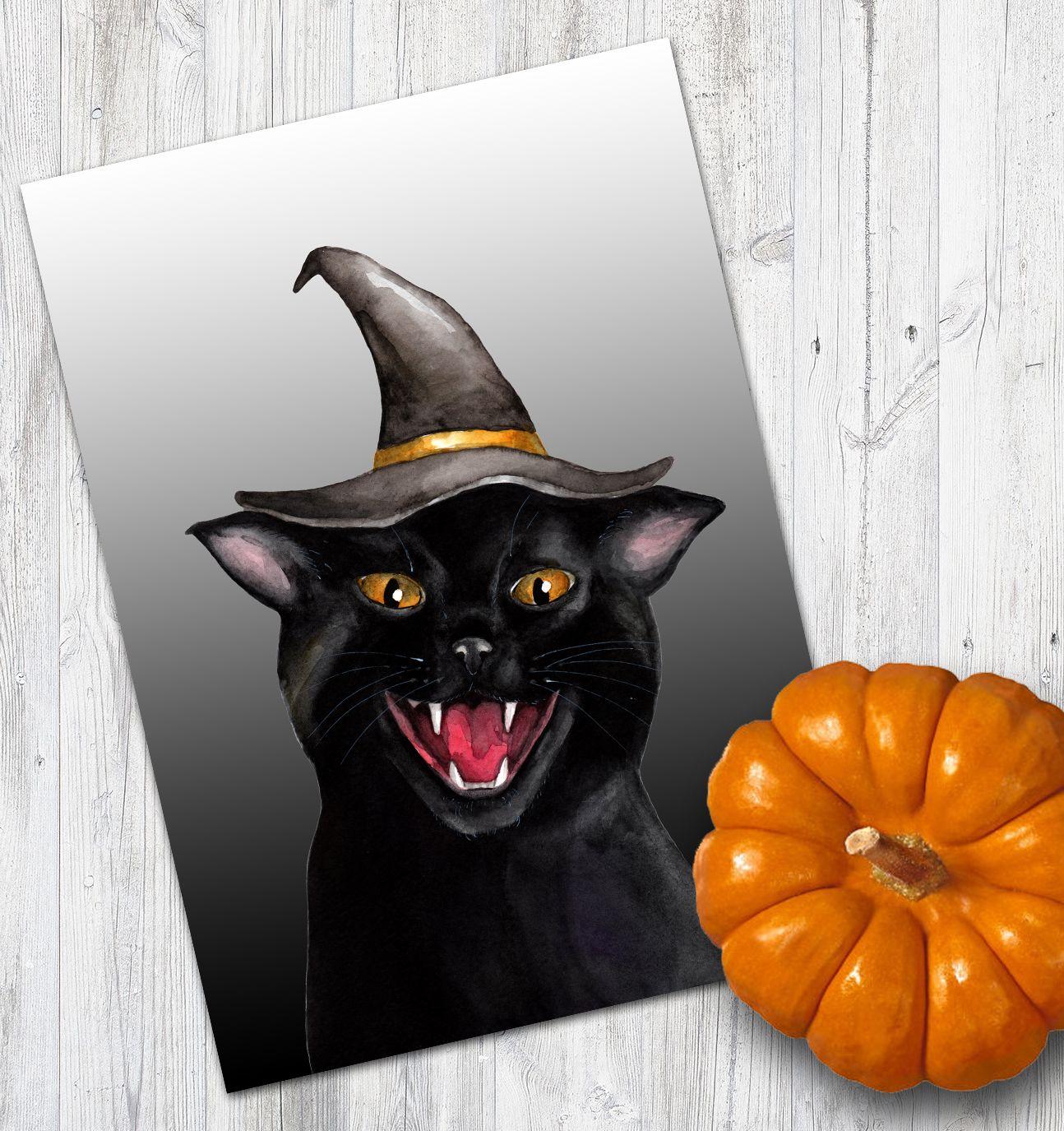 Halloween Cat Print Black Cat Wall Art Colorful Animal Cat Lovers