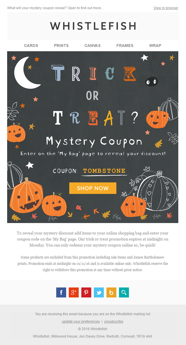 mystery coupon email for halloween from whistlefish emailmarketing email marketing coupon code discount halloween