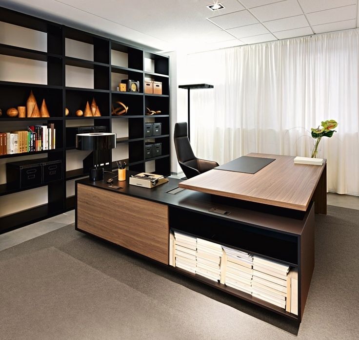 Great Wonderful Choice For Small Home Office Designs : Elegant Home Office Design  Ideas With Black Brown L Shaped Desk And Nice Bookcase Also Nice Curtain