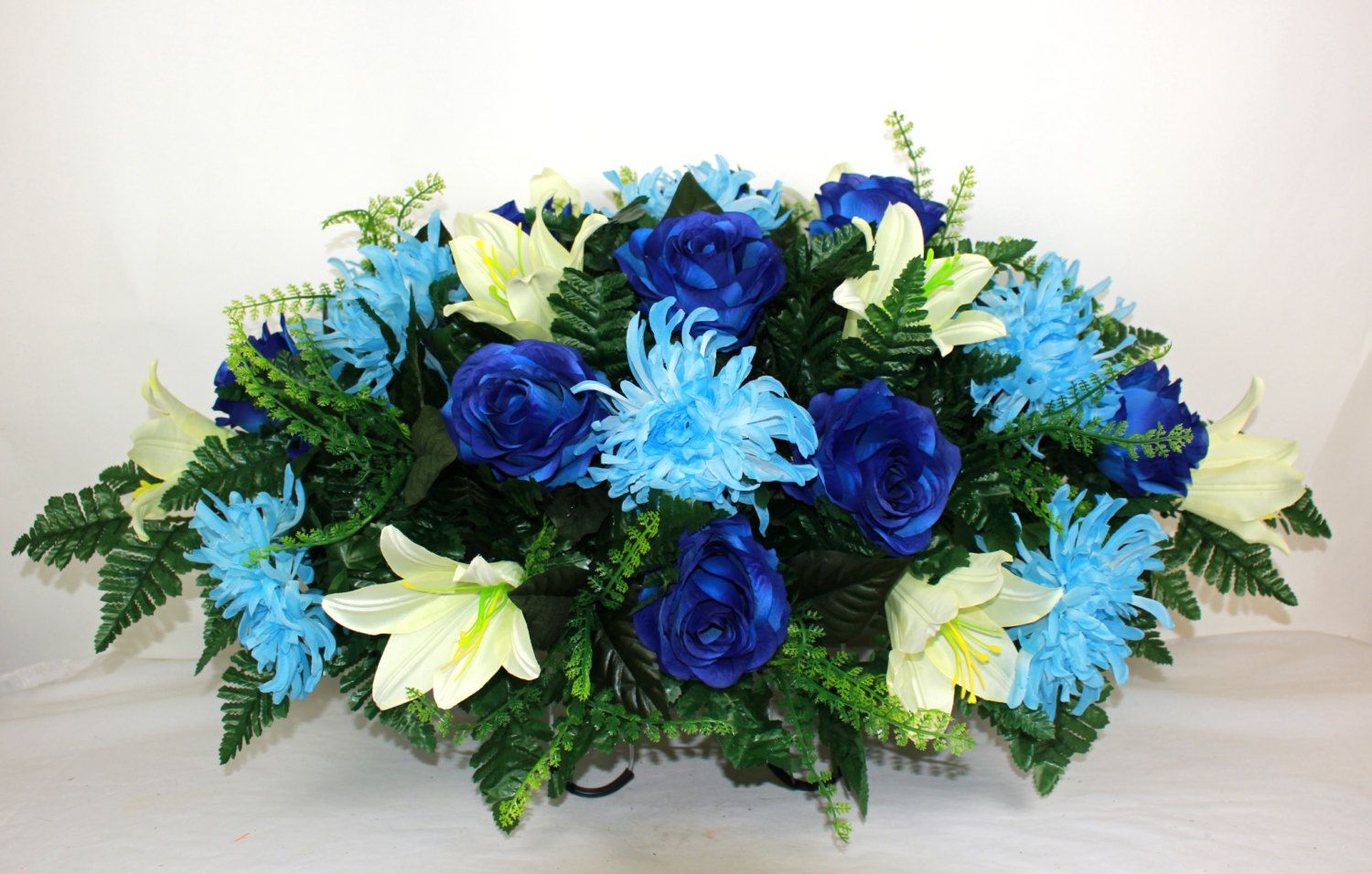 XL Beautiful Baby Blue Spider Mums  Cemetery Tombstone Saddle Arrangement by Crazyboutdeco on Etsy