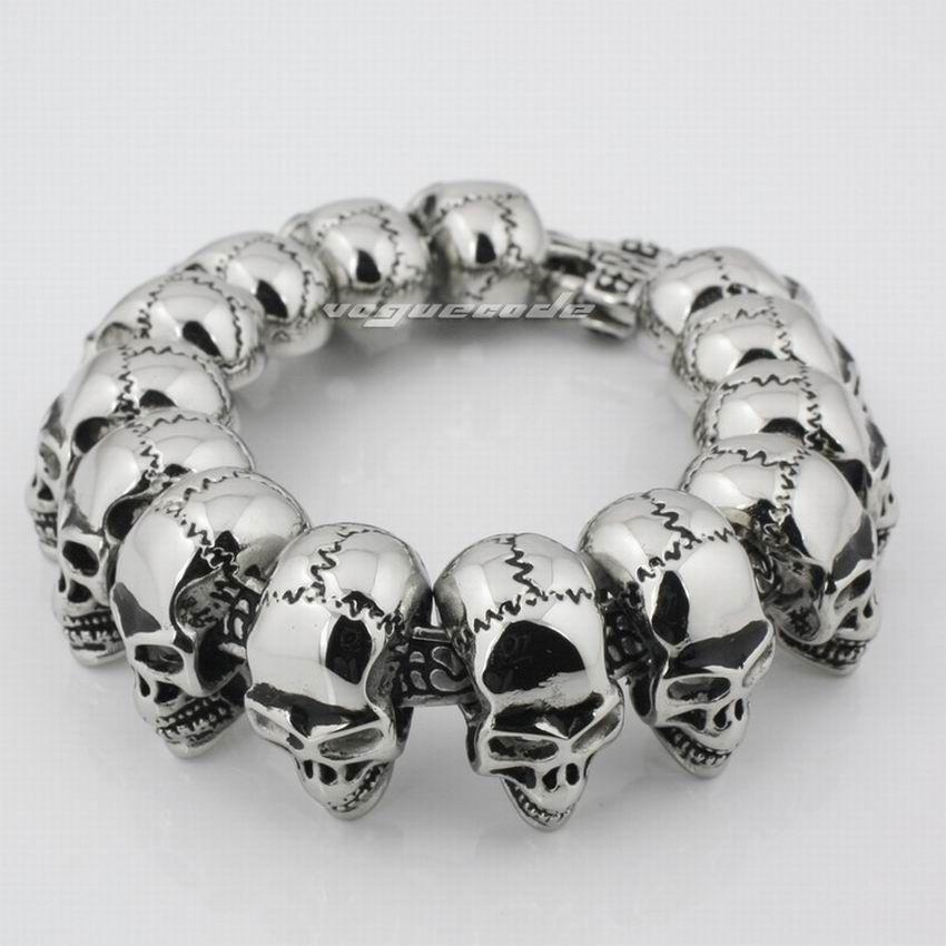 LINSION 316L Stainless Steel Mens Skulls Bracelet Biker Link Chain ...