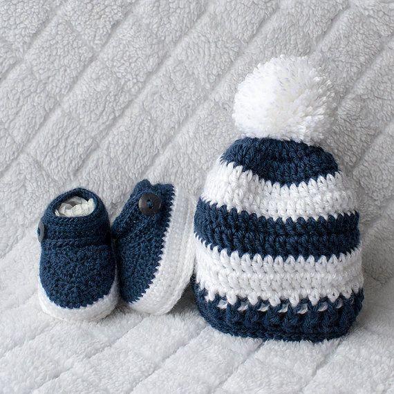 Baby Boy Set, Crochet Baby Boy Hat and Booties Set, Pom-pom Hat, Boy ...