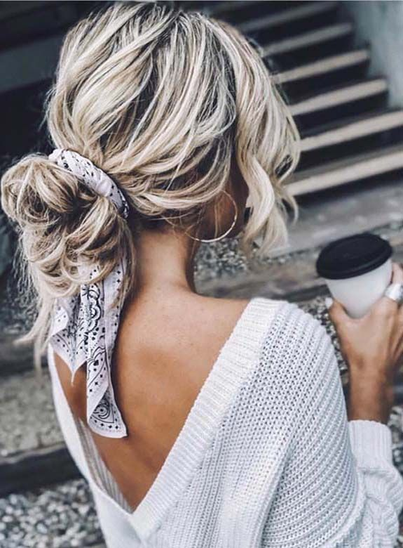 Best Undone Bun Styles with Scarf for Women 2018 #hairscarfstyles