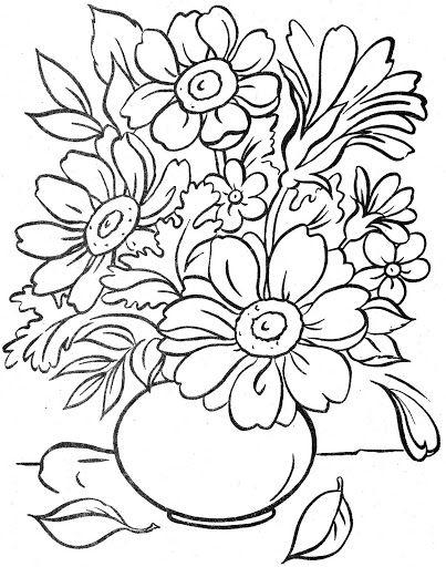 Riscos De Vasos Jarros E Xicaras Com Flores Producao De Arte