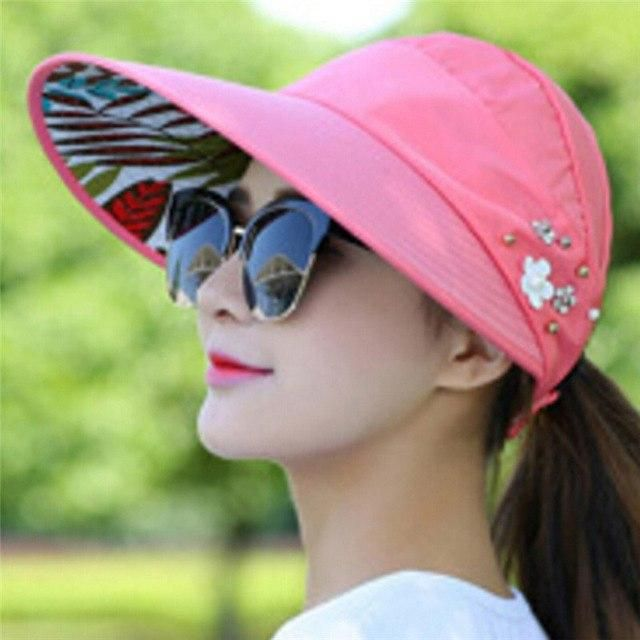 b491ef010 1Pc Sun Hats Women Summer Pearl Packable Sun Visor Hat With Big ...