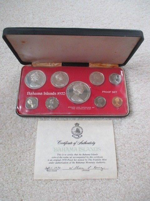 1970 Bahamas 9 Coin Proof Set Contains 4 Silver Coins W Coa