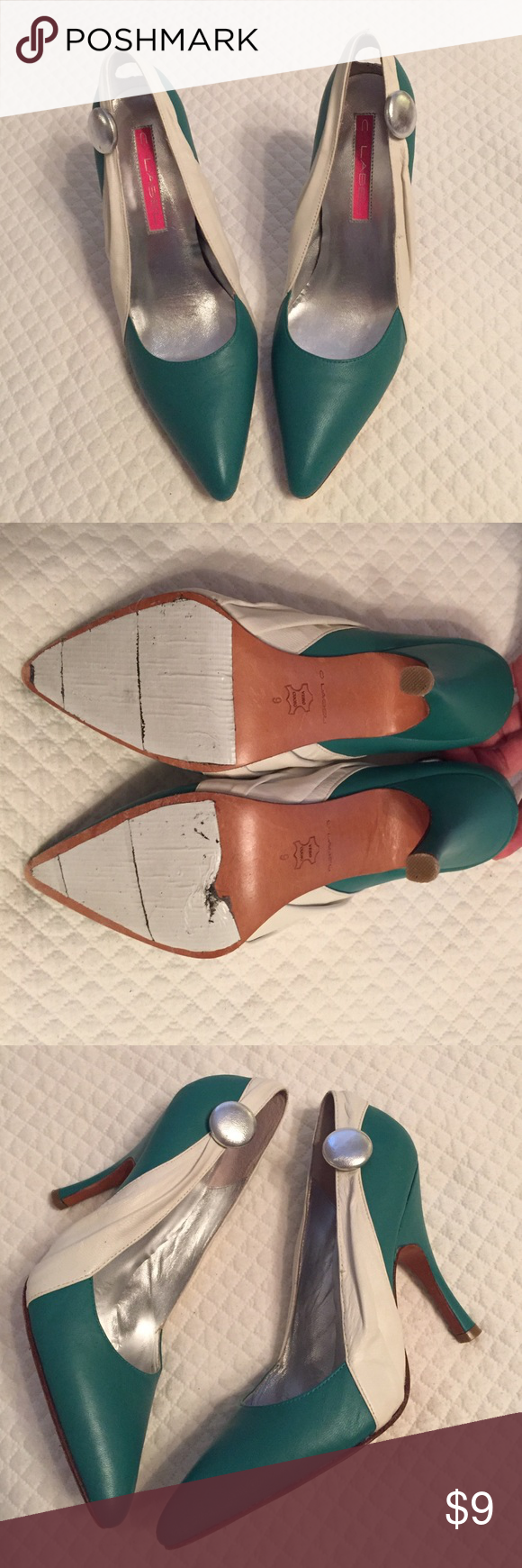 Turquoise - Favorite Heels! These are my absolute favorite heels ever - super stylish, with off white and turquoise- green in color… Stylish and great for a pop of color… I added duck taped to the bottom for traction as there was none. In like new condition barely worn… Colors are true to the picture. Sad to let these go! C Label Shoes Heels