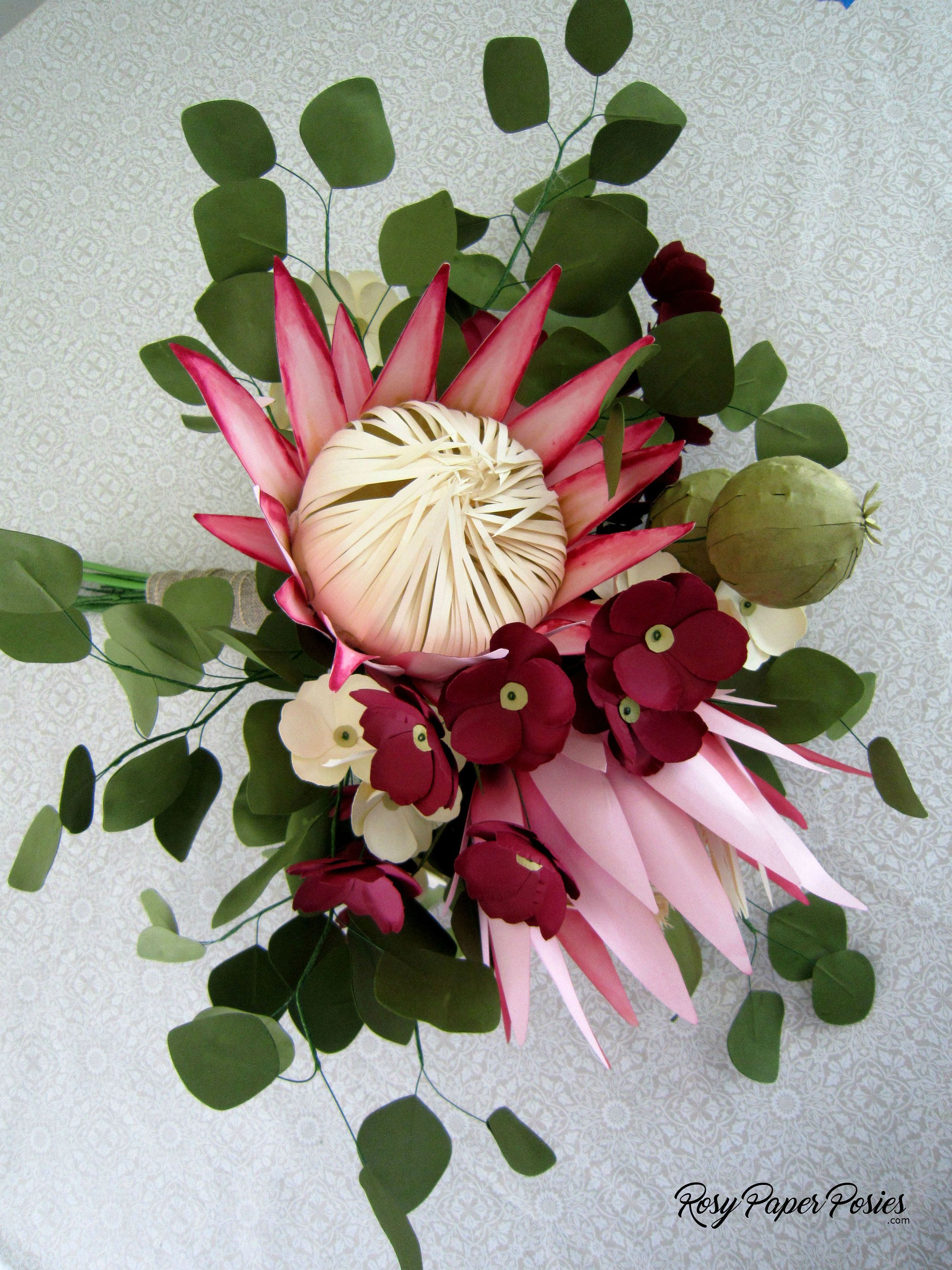 Diy Paper Protea Pattern And Instructions Pdf Svg By Diyrosypaperposies On Etsy Paper Flowers Paper Flowers Diy Large Paper Flowers