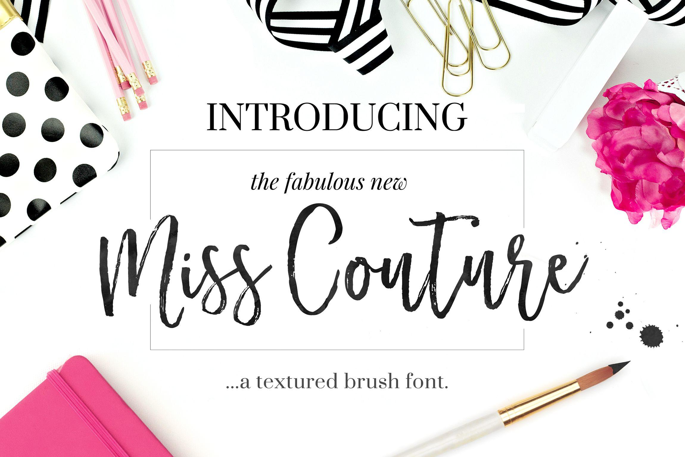 Miss couture brush script bonus by nicky laatz on @creativemarket